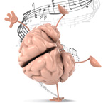 Brain doing a handstand with music notes